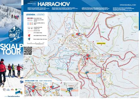 Skialpinistické trasy v Harrachově - mapa